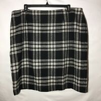 New TALBOTS Plus Woman Wool Viscose Plaid Skirt Black White Size 22W