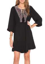 TWELFTH STREET by CYNTHIA VINCENT BLACK 3/4 BELL SLEEVE EMBROIDERED DRESS Sz S