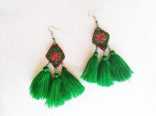 New Handmade Green & Orange Beaded Tassel Drop Pom Pom Boho Ethnic Earrings