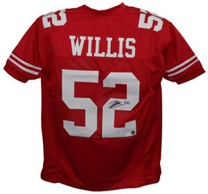 Patrick Willis Autographed/Signed Pro Style Red XL Jersey BAS 32566