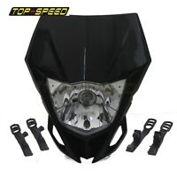 Universal Motorcycle Black Headlight DirtBike For YAMAHA WR250F WR450F KTM HONDA