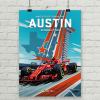 United States Grand Prix Ferrari Formula 1 Racing Poster Canvas Art Print Giclee