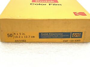 50 Sheet box 4x5 Kodak Ektachrome 6118 Daylight Film exp. 07/83 Sealed