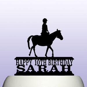 Personalised Acrylic Female Girl Horse Rider Riding Pony Cake Topper Decoration