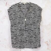 Michael Kors Women's Designer Blouse Top Size L Cap Sleeve Zebra Black/White