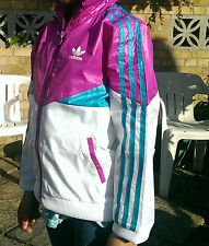 New children white/purple ADIDAS hooded jacket/ tracksuit top size 5-6 years