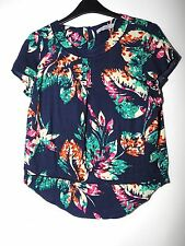 NAVY BLUE WHITE GREEN FLORAL LADIES CASUAL TOP BLOUSE SIZE 8 PER UNA