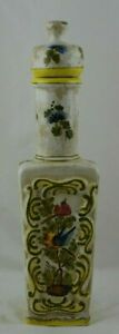Made in Italy Large Bottle With Lid Birds Faience