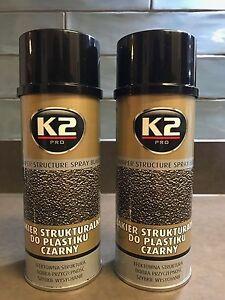 2 x K2 BLACK Bumper TEXTURED SPRAY Paint Restore Plastic FAST DRYING 400ml
