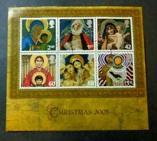2005 CHRISTMAS SHEET VF USED GB UK GREAT BRITAIN B36.18 START 0.99$
