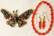 jewelry set BUTTERFLY pin brooch earrings bracelet glass RED multicolor gold to