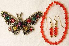 new jewelry set BUTTERFLY pin brooch earrings bracelet glass  multi color gold t