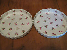 New listing Pair Vintage Painted Pink Flowers Quiche Tart Dish Baker Made in England