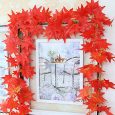 Artificial 2.5M Autumn Maple Leaves Garland Garden Red Leaf Display Decorations