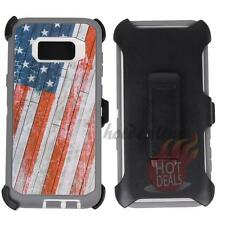 For Samsung Galaxy S8 USA Flag Camo Defender Case Cover (Clip Fits OtterBox)