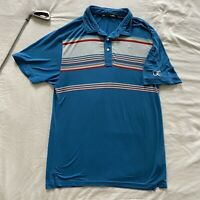 Travis Mathew Golf Polo Size Large Blue with Multi-colored Stripes