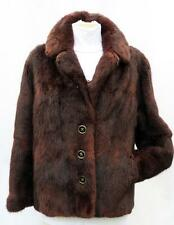 LADIES VINTAGE 1960s BEAUTIFUL SOFT MUSQUASH FUR JACKET COAT MAHOGANY BROWN