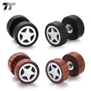TT Surgical steel Star 10mm Round Wood Fake Ear Plug Earrings (BE272) NEW
