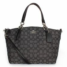 Coach F36625 Outline Signature J Small Kelsey Satchel Handbag Black Smoke/Black