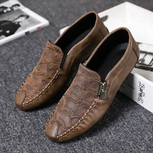 Men Nonslip Artificial Pu Leather Round Toe Flat Zipper Breathable Moccasin Shoe