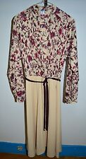 Vtg 60'S Union Made Purple Maroon Cream Floral Lace Polyester Dress Size 16