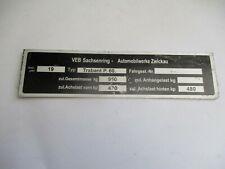 Nameplate Ifa VEB Sachsenring Trabant P.60. P60 B-Ware