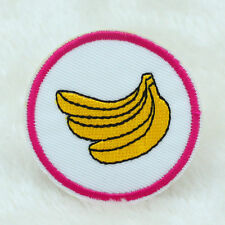 2PCS banana Fabric Embroidered Iron On Patch Motif Applique Embroidery 50mm