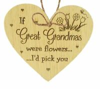 Great Grandma Birthday Gifts Hanging Wooden Heart Keepsake Thank You Christmas