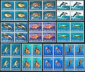 San Marino 1966 MARINE LIFE blocks of 4 MNH FISH, ANIMALS, DOLPHINS