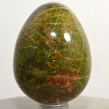 """2.1"""" Green Red Unakite Egg Natural Orthoclase w/ Epidote Mineral Stone - China"""
