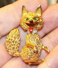 RARE VINTAGE SIGNED  PANETTA GOLD PLATED FOX PIN / BROOCH