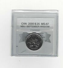 **2000 Sept Wisdom**Coin Mart Graded Canadian,  25 Cent, **MS-67 NBU**