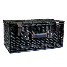 """Black Wicker Storage Basket 20"""" with Traditional Fastner Straps and Carry Handle"""