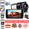 1080P HD Car Dash Cam Front and Rear Camera Video Recorder with 32GB SD Card