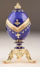 Blue Egg Faberge trinket box hand made by Keren Kopal w/ Austrian crystal