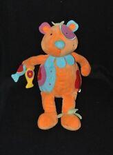 Peluche doudou ours musical BAWI Les Papoudous orange bleu poissons 34 cm TTBE