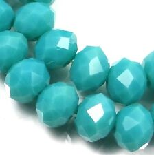 25 Czech Glass Faceted Rondelle Beads - Riptide / Blue Green 8mm