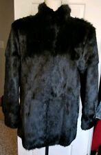 Women's Black Real Rabbit Fur Coat with optional Cuff Size Medium