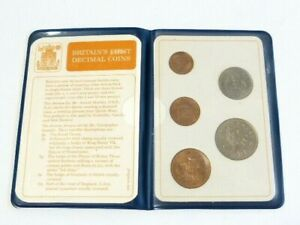 1968-1971 Britain's First Decimal 5 Coins Set in Wallet 1/2p 1p 2p 5p 10p UNC