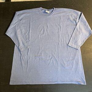 Men's Vintage Decosport Single Stitch Blue Blank 3/4 Sleeve Shirt Size XXL Vtg
