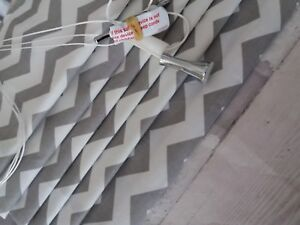 Made To Measure Roman Blind In A Grey Chevron Fabric To Match Nursery Items