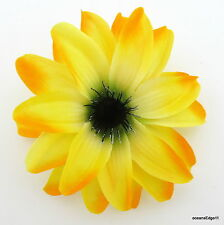 "4.75"" Variegated Yellow Water Lily Poly Silk Flower Hair Clip,Pin Up,Updo,Hat"