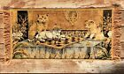 Vtg Cat Tapestry Wall Hanging Art Cats Playing Chess Retro Mid Century Kittens
