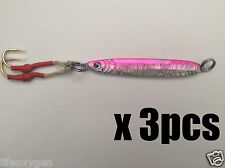 New listing 3pcs 100g 3.5oz Fishing Pink Fish Butterfly Jigs Assist Hook center vortex @Us