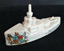 More details for ww-1 ceramic model of a royal naval battleship with the fakenham-lancaster crest