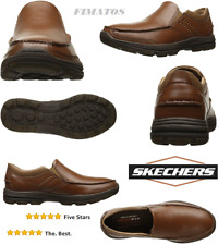 Men's Leather Garton Messon Memory Foam Slip-On Loafer,10.5D(M),Cognac,Skechers
