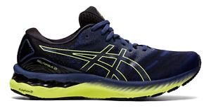 NEW Men's ASICS Gel-Nimbus 23 thunder Blue Yellow Running Shoes Sizes 8-14