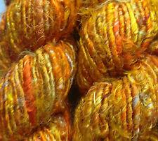 Sari Silk Yarn Multi-Gold/Orange  100g.  Textile Art/Crafts/Knit/Weave/Crochet