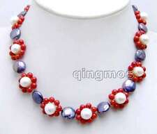 18-20mm Flower handwork Weaving 17'' Necklace-6224 Black Coin Round Pearl & Red