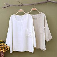 Women's Cotton Linen Tops Long Sleeve Loose Blouse Oversized Shirt  Beige/White